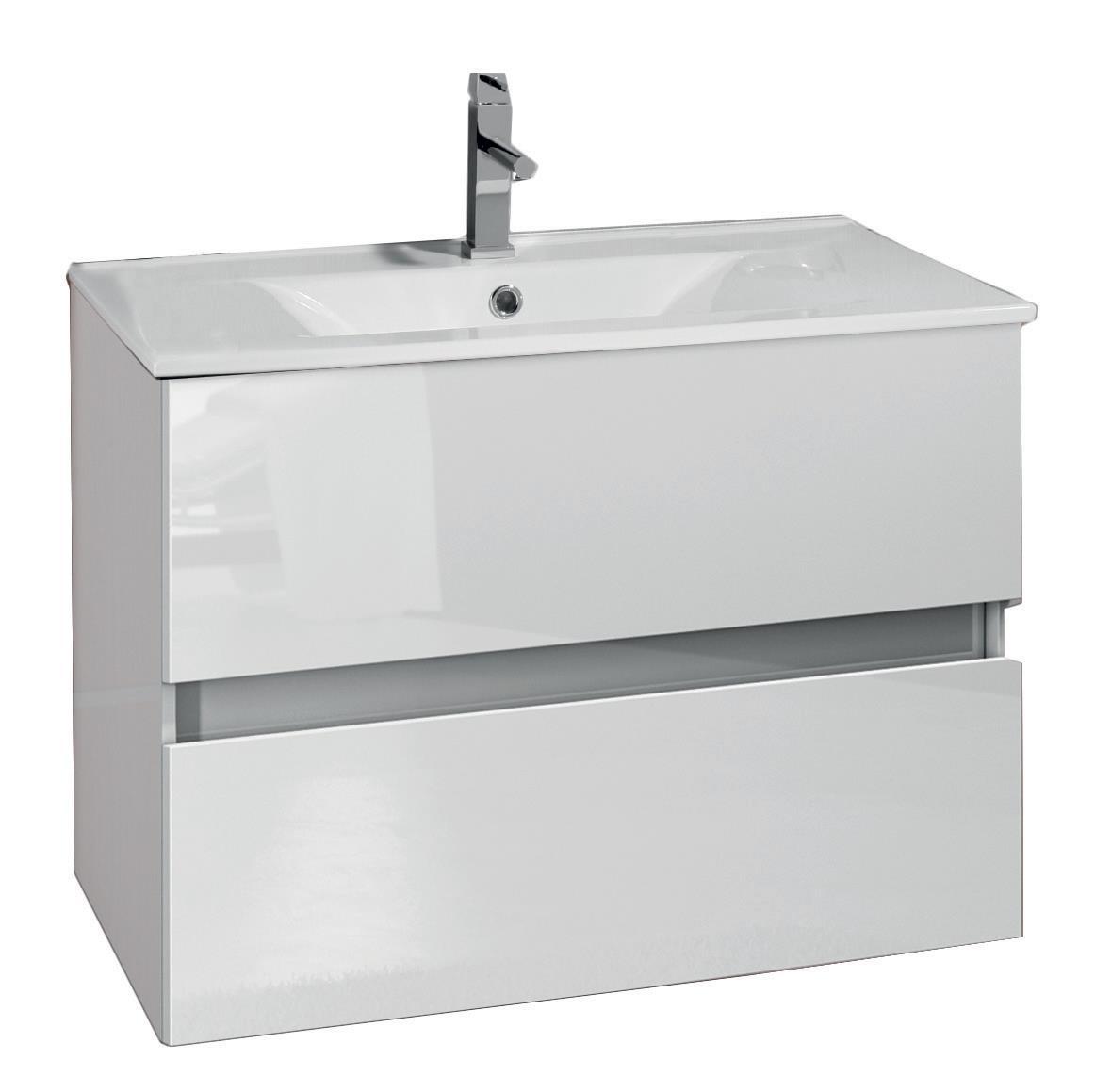 Mobile bagno sospeso moderno bianco lucido 75 cm lavabo - Bagno bianco lucido ...