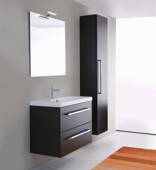 Mobile bagno sospeso moderno wenge 39 70 cm lavabo ceramica for Specchio wenge