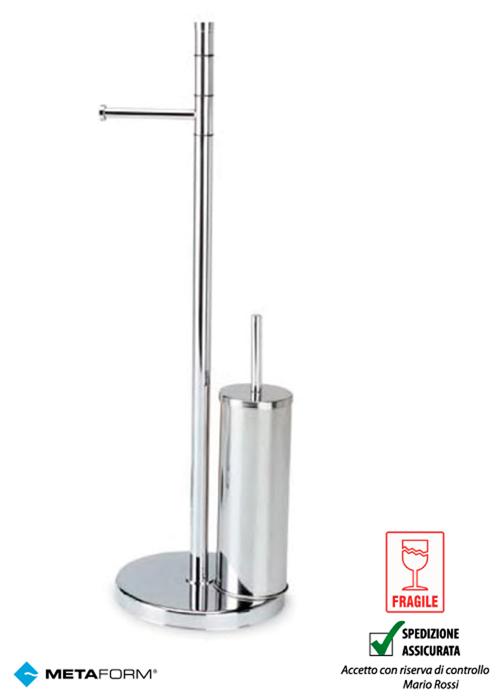 Piantana acciaio bagno porta rotolo e porta scopino metaform ebay - Piantana portasalviette bagno ...