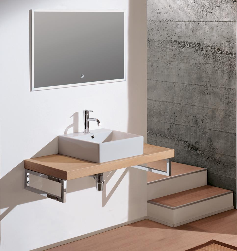 Mobile bagno mensola moderno rovere 110 cm lavabo ceram althea specchio led ebay - Bagno largo 110 cm ...