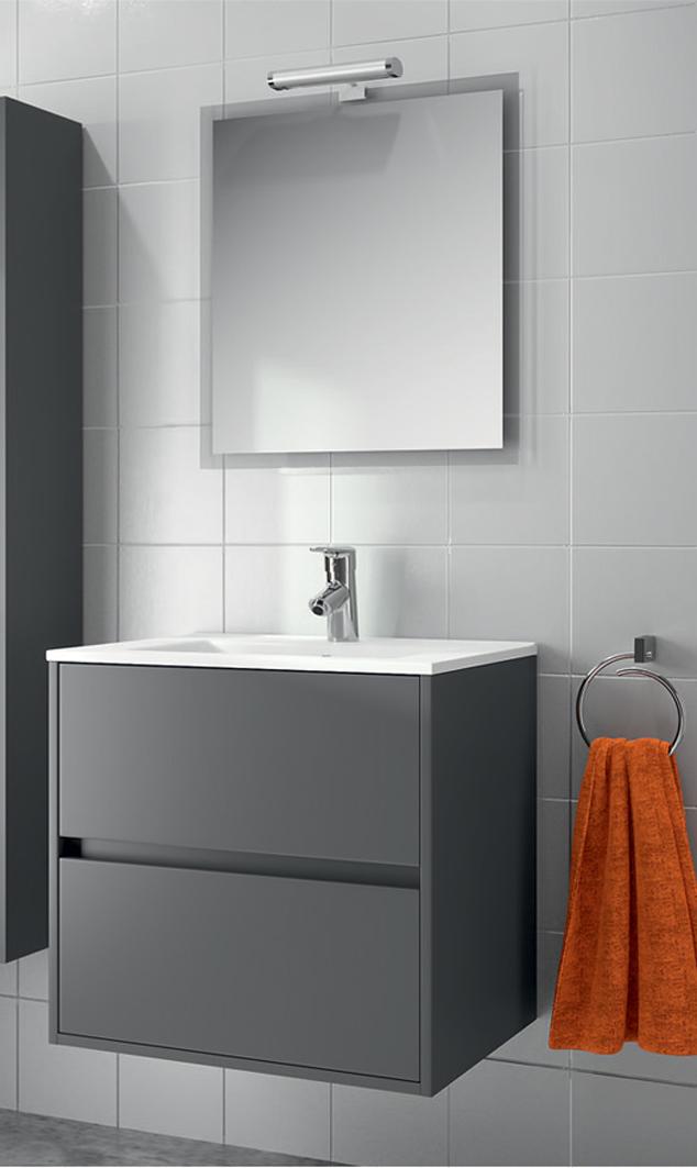 Mobile bagno sospeso moderno grigio opaco 60 cm lavabo for Mobile sospeso bagno