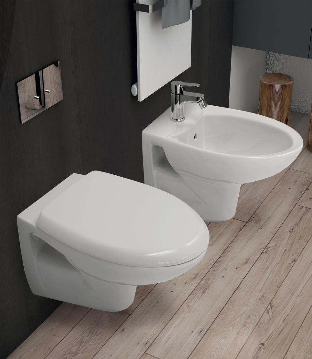 Sanitari sospesi completi vaso wc bidet e sedile tenax for Ceramica dolomite